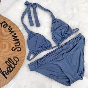 J. Crew •. Blue Bikini Top